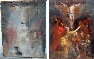 dipinto1600_crocifissione_particolare_PRIMA_DOPO1